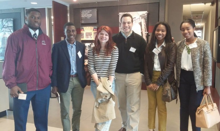 Students from Morehouse College, Georgia State University, the University of Georgia, and Clark Atlanta University at a kickoff lunch for the Georgia News Lab.\n